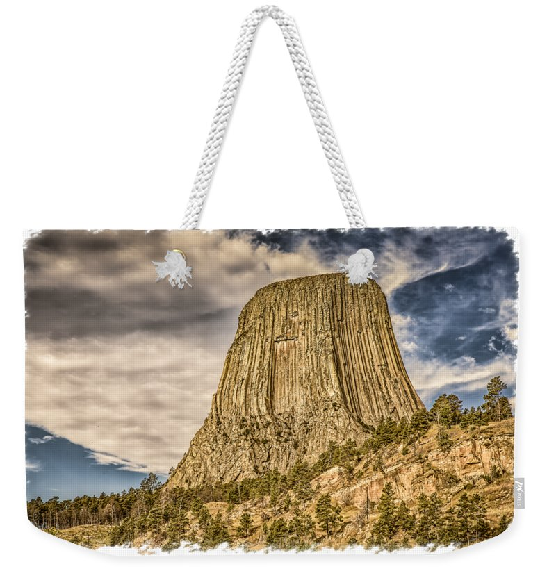 Landscape Weekender Tote Bag featuring the photograph Devils Tower Inspiration 3 by John M Bailey