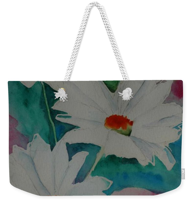 Daisies Weekender Tote Bag featuring the painting Devin's Dasies by Melinda Etzold