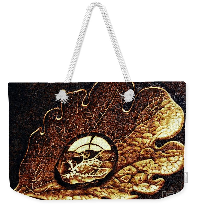 Dewdrop On A Leaf Weekender Tote Bag featuring the pyrography Dewdrop On A Leaf by Ilaria Andreucci