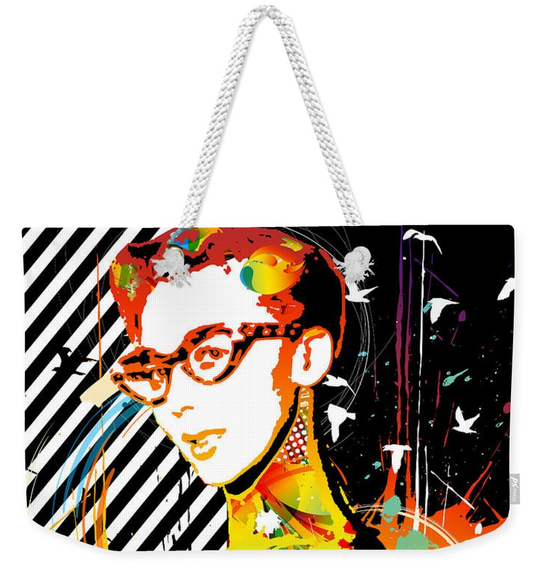 Nostalgic Seduction Weekender Tote Bag featuring the mixed media Dexterous Dame by Chris Andruskiewicz