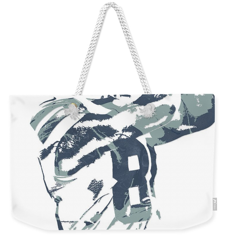 Dez Bryant Weekender Tote Bag featuring the mixed media Dez Bryant Dallas Cowboys Pixel Art 20 by Joe Hamilton
