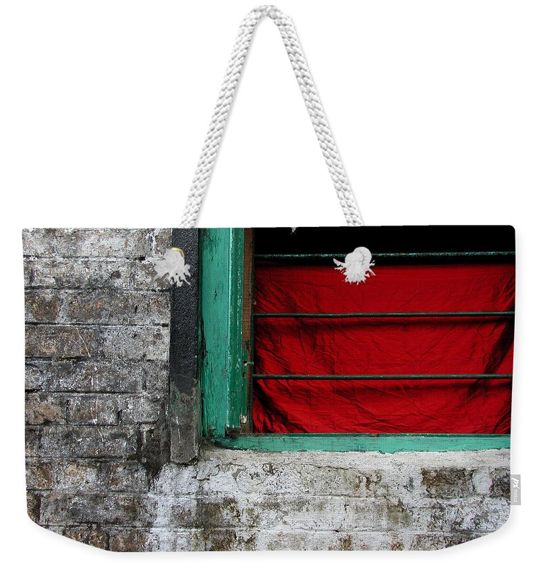 Red Weekender Tote Bag featuring the photograph Dharamsala Window by Skip Hunt