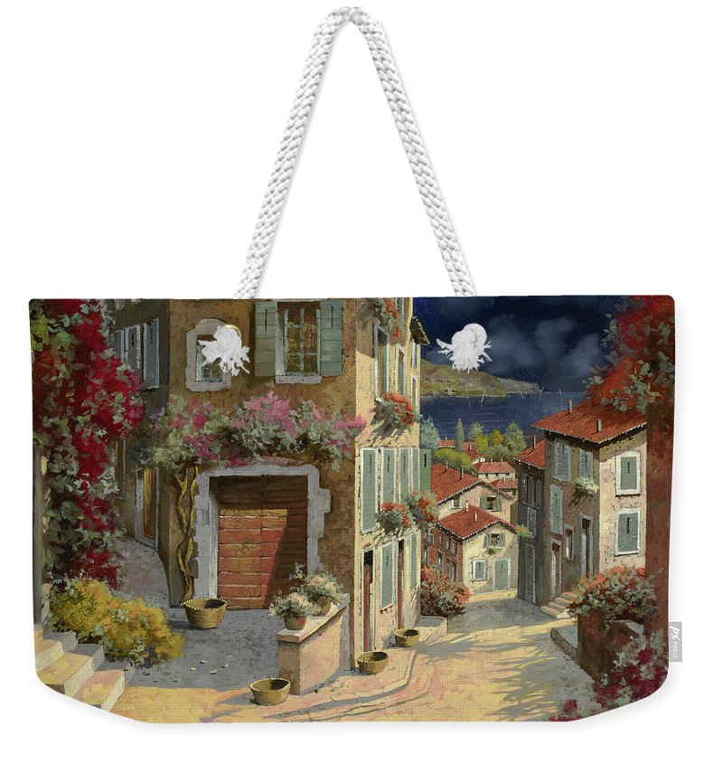 Seascape Weekender Tote Bag featuring the painting Di Notte Al Mare by Guido Borelli