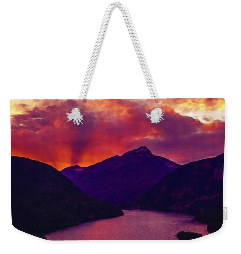Nature Weekender Tote Bag featuring the painting Diablo Lake, United States by Celestial Images