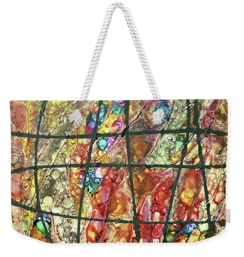 Keith Elliott Weekender Tote Bag featuring the painting Diabolical Madness - V1cfs100 by Keith Elliott