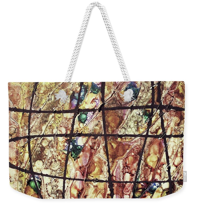 Keith Elliott Weekender Tote Bag featuring the painting Diabolical Madness - V1vsf100 by Keith Elliott