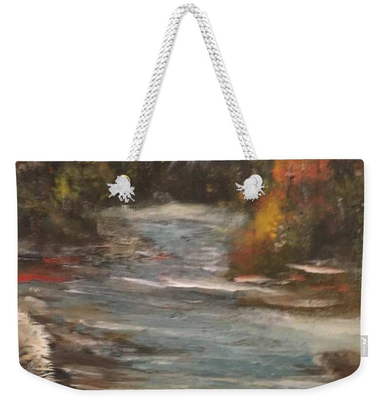 Weekender Tote Bag featuring the painting Diamond Falls by Joseph Snyder