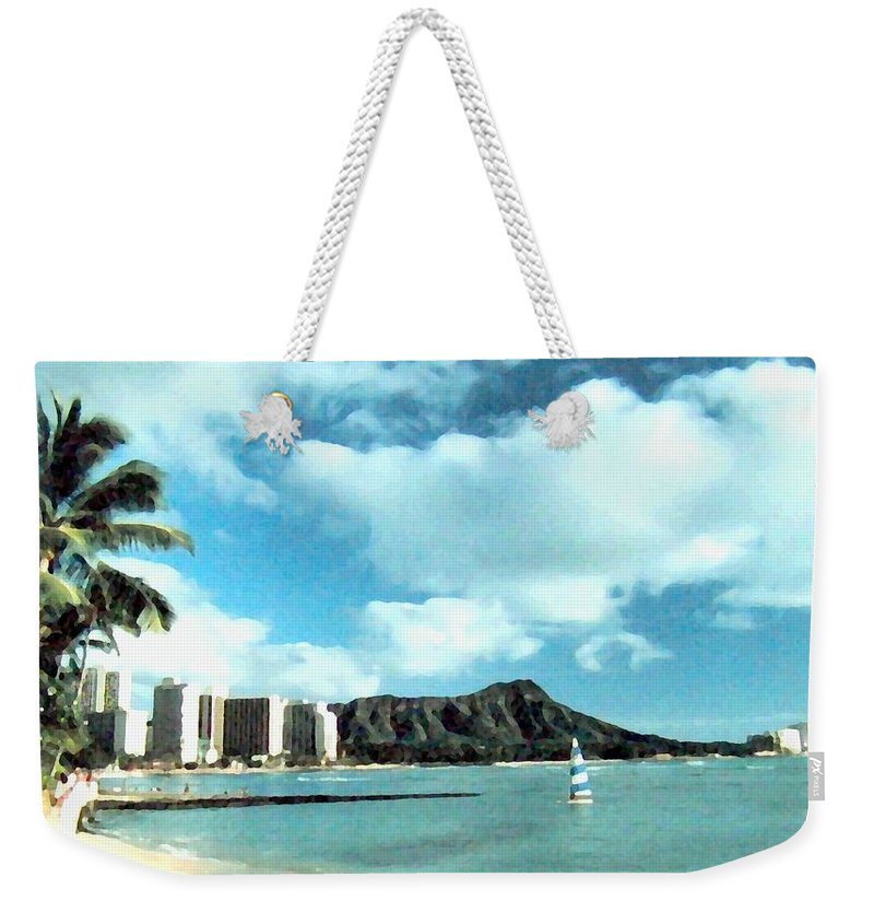 1986 Weekender Tote Bag featuring the digital art Diamond Head by Will Borden