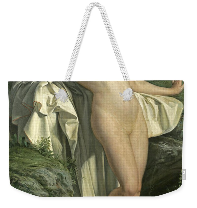 Alexandre Jacques Chantron Weekender Tote Bag featuring the painting Diana At Her Bath by Alexandre Jacques Chantron