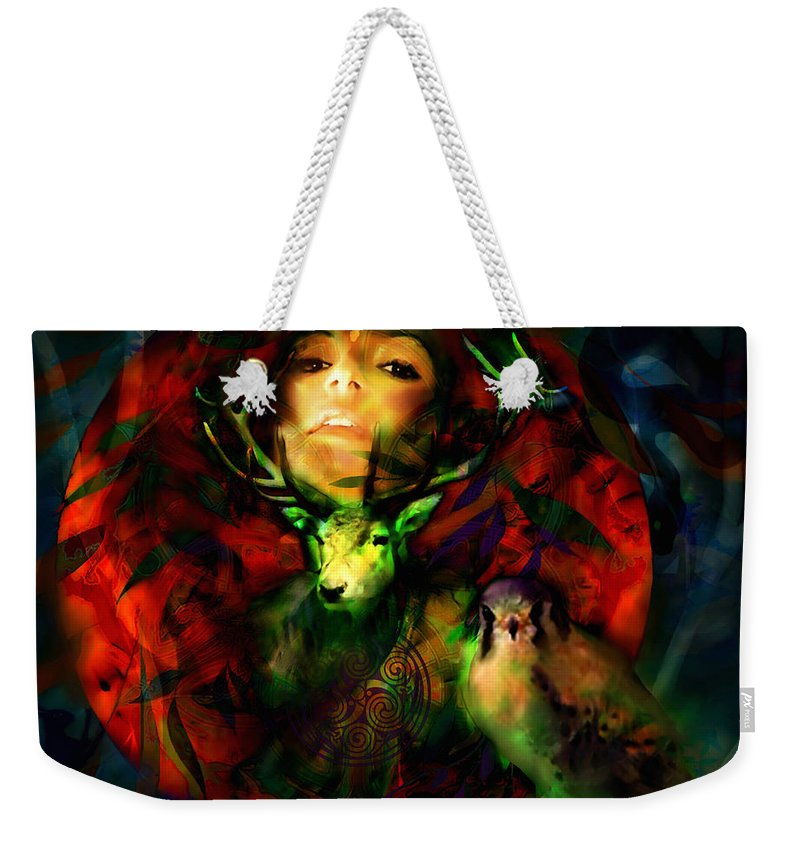 Spiritual Weekender Tote Bag featuring the digital art Dianas Blood Moon by Stephen Lucas
