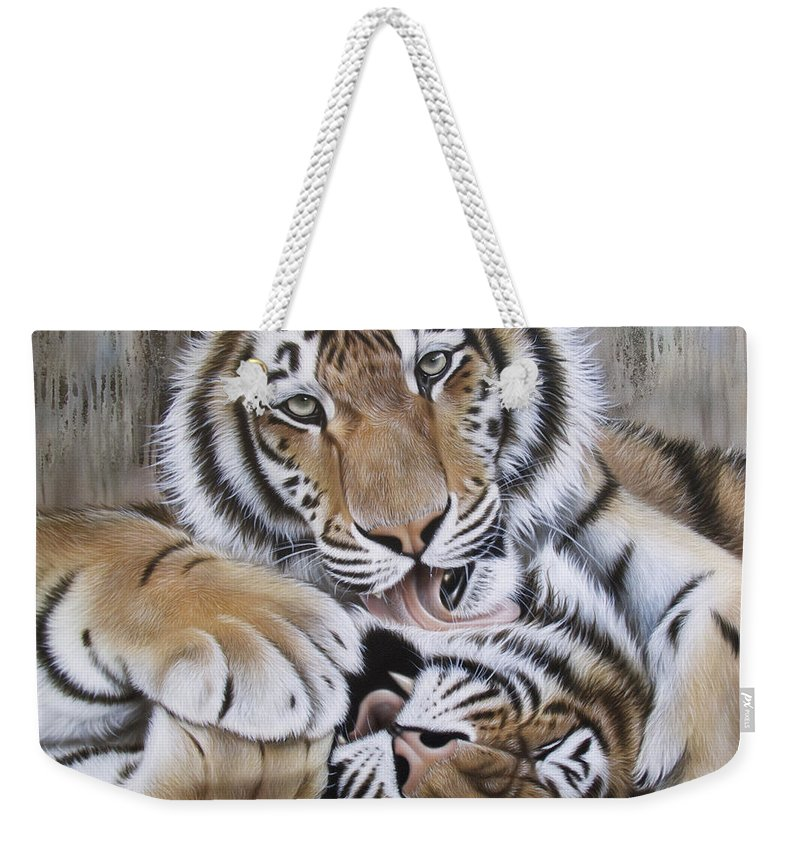 Acrylic Weekender Tote Bag featuring the painting Diana's Duo by Sandi Baker