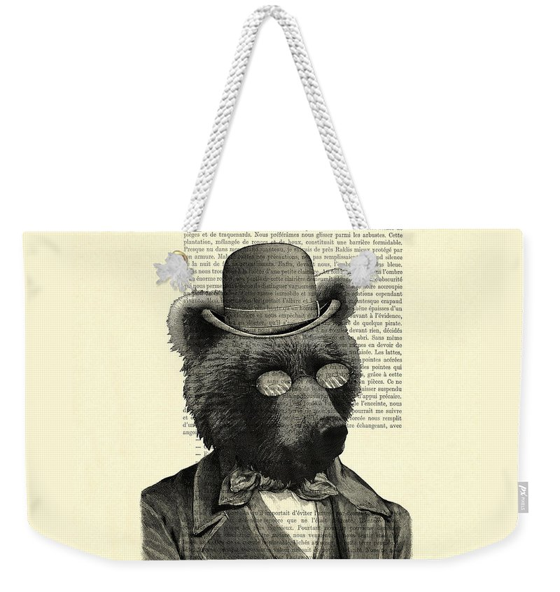 Dictionary Art Weekender Tote Bag featuring the digital art Bear Portrait - Animals In Suits by Madame Memento