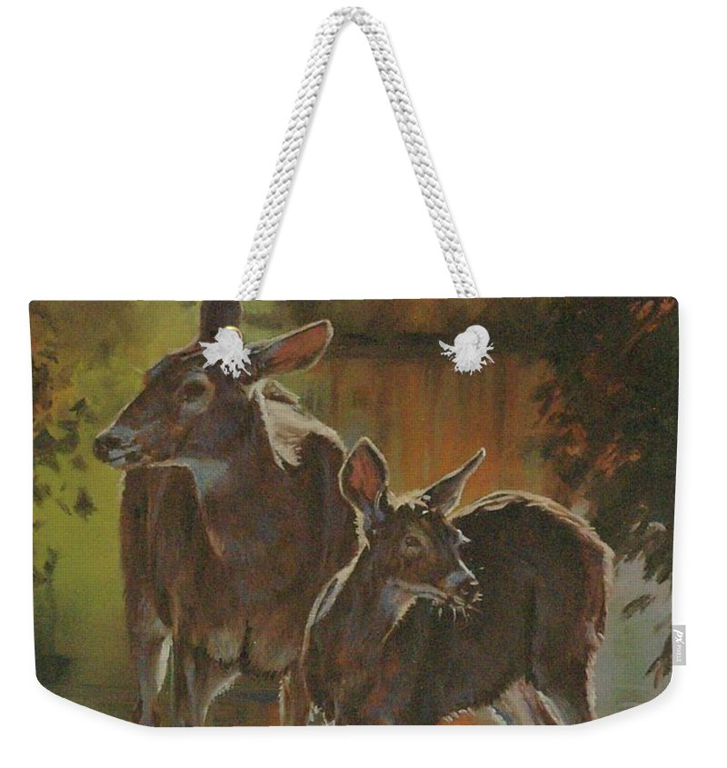 Deer Weekender Tote Bag featuring the painting Did You Hear That by Mia DeLode