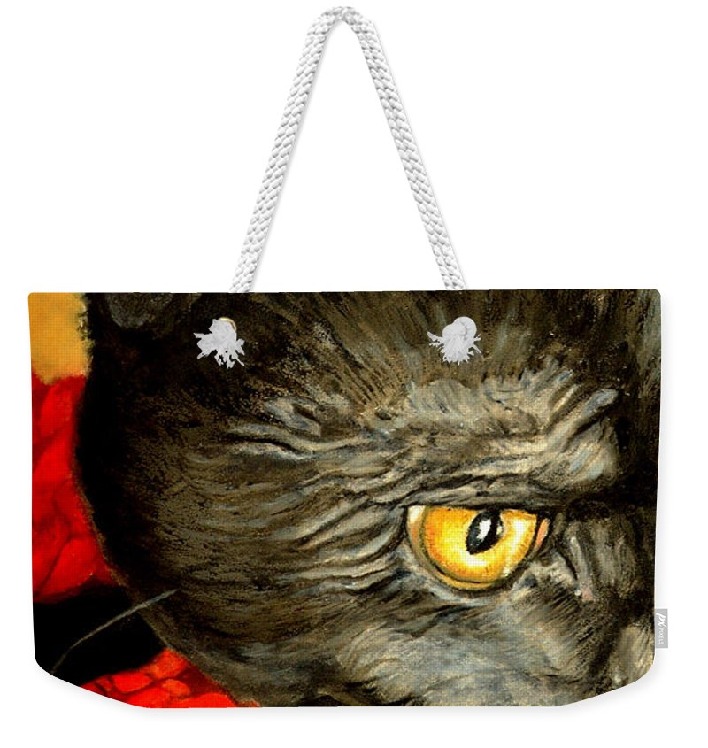 Animal Painting Weekender Tote Bag featuring the painting Diego The Cat by Portraits By NC