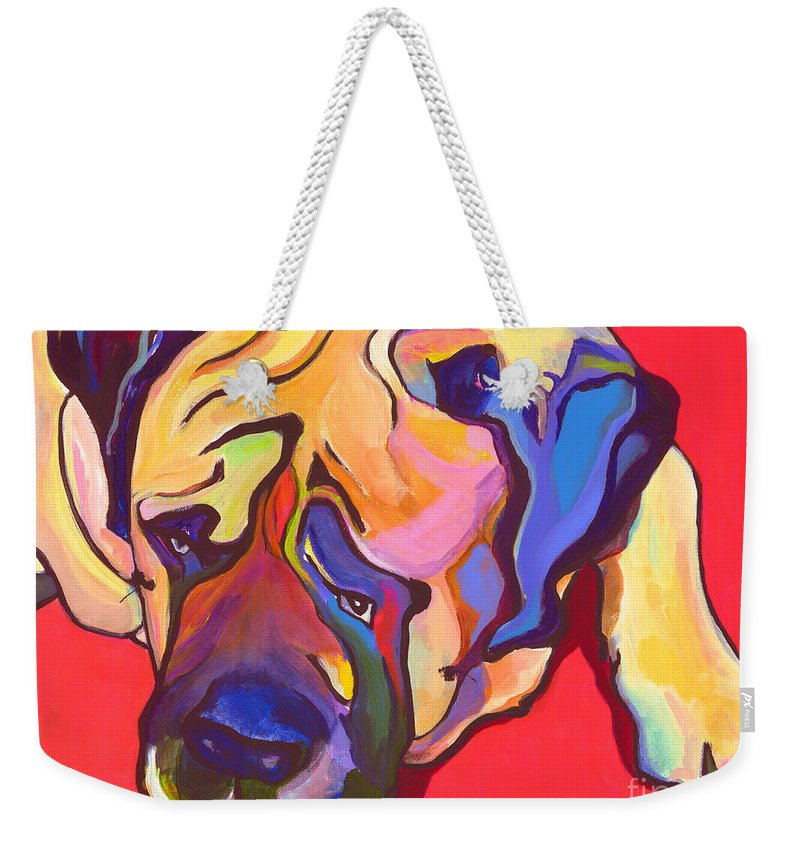 Mastiff Weekender Tote Bag featuring the painting Diesel  by Pat Saunders-White