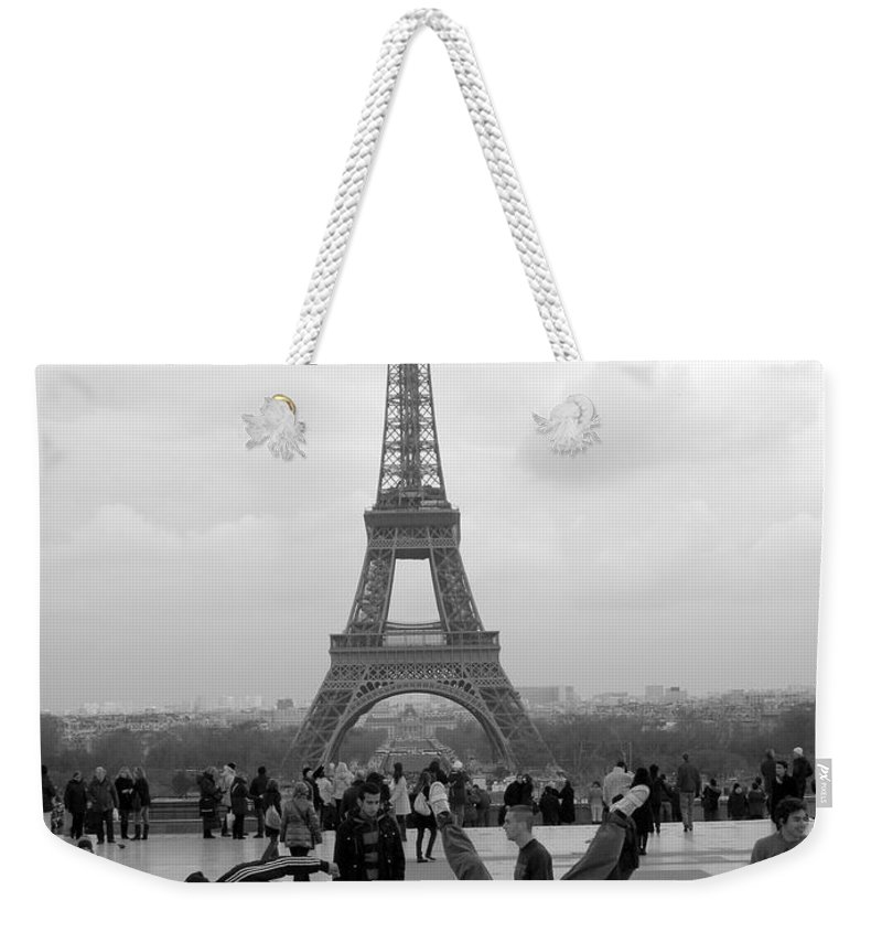 eiffel Tower Weekender Tote Bag featuring the photograph Different View by Jo Hoden