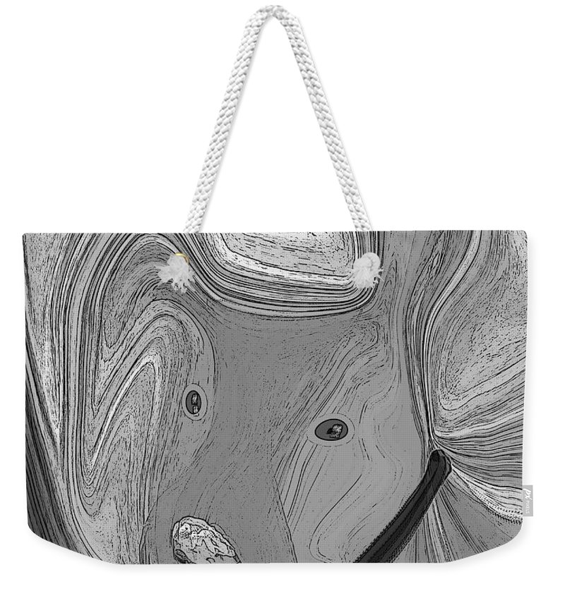 Ruth Palmer Abstract Black And White Digital Dog Dogs Animals Humor Funny Weekender Tote Bag featuring the digital art Digidawg by Ruth Palmer