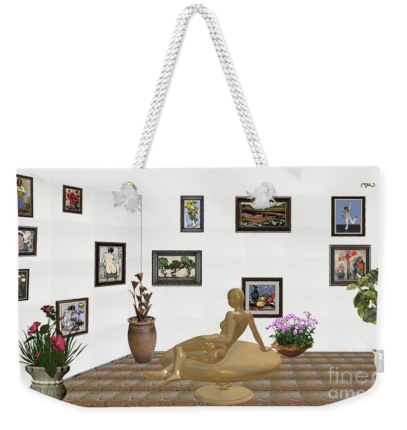 People Weekender Tote Bag featuring the mixed media digital exhibition _ Statue of girl 52 by Pemaro