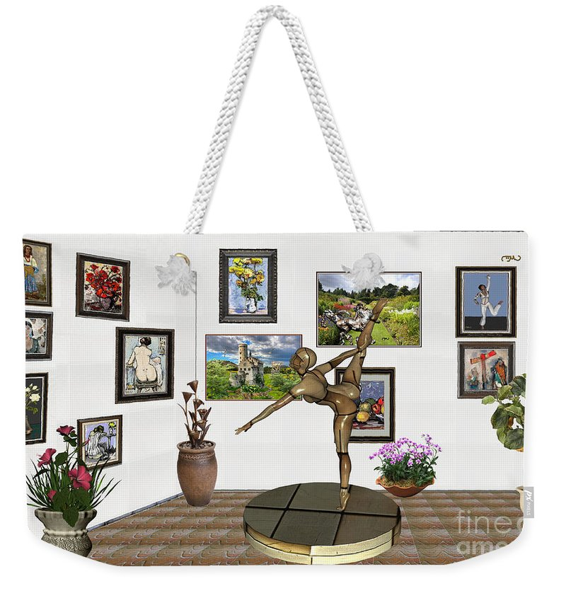 Modern Painting Weekender Tote Bag featuring the mixed media digital exhibition _ Statue of girl acrobat 35 by Pemaro