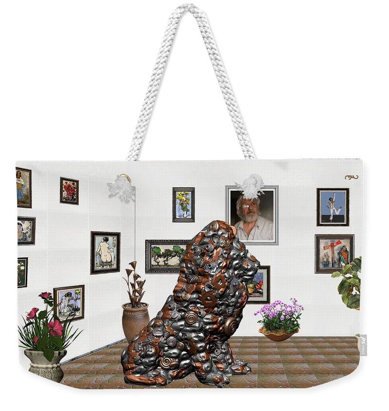 Modern Painting Weekender Tote Bag featuring the mixed media digital exhibition _Modern Statue of scrap by Pemaro