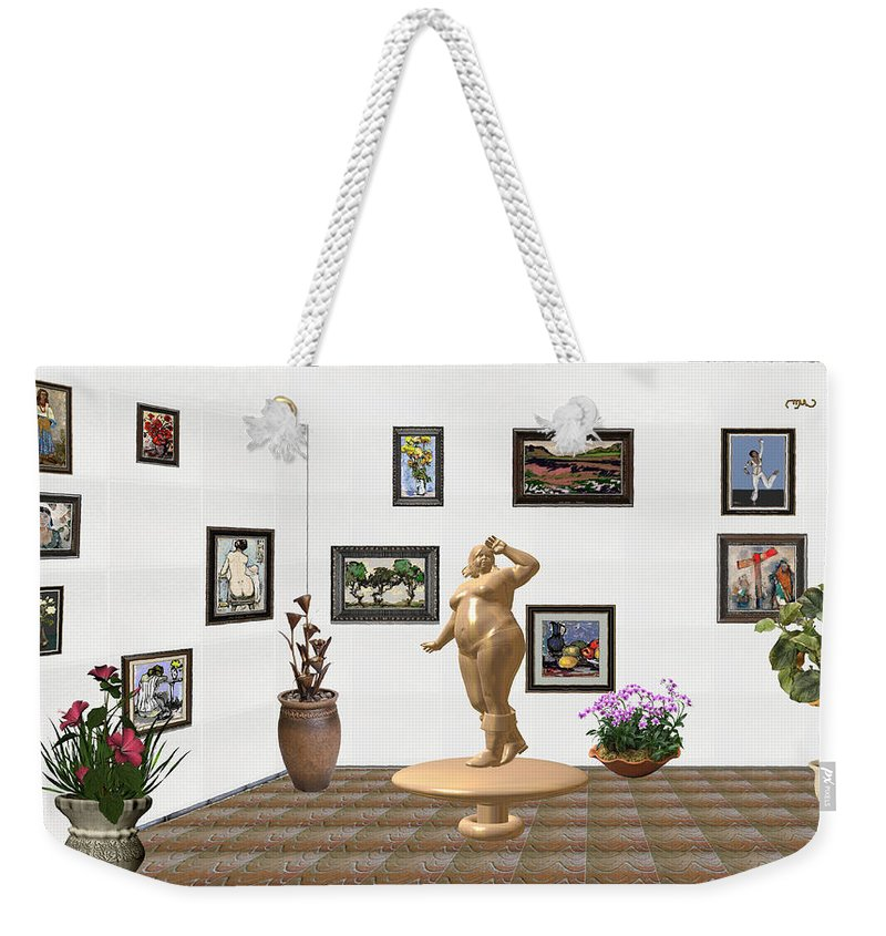 Modern Painting Weekender Tote Bag featuring the mixed media digital exhibition Statue 23 of posing lady by Pemaro