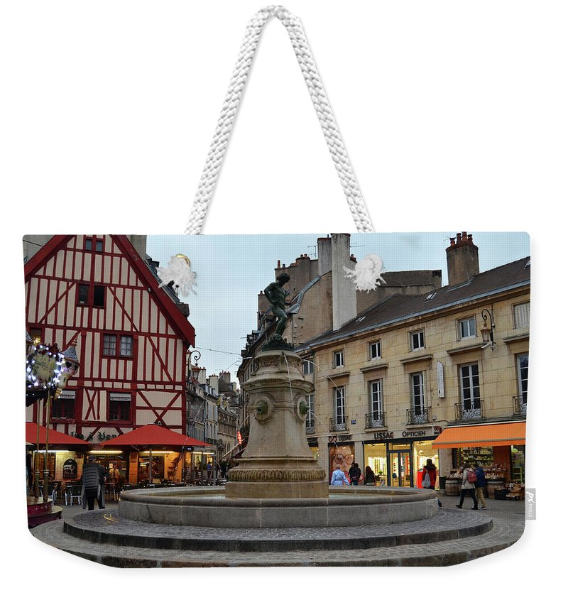 Fountain Weekender Tote Bag featuring the photograph Dijon Fountain by Dawn Crichton