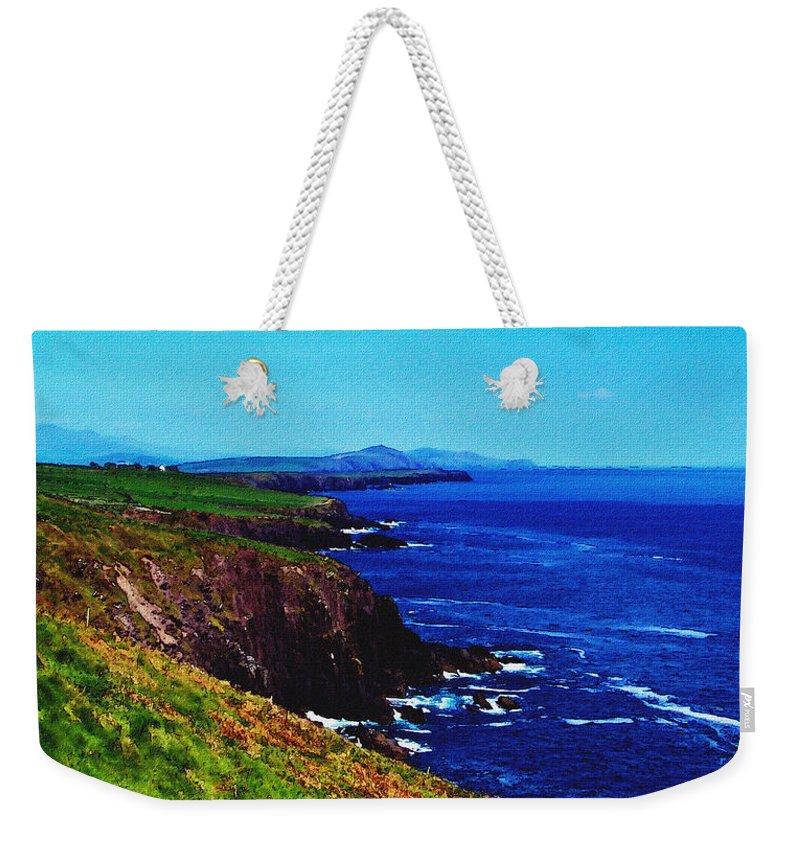 Irish Weekender Tote Bag featuring the digital art Dingle Coastline Near Fahan Ireland by Teresa Mucha