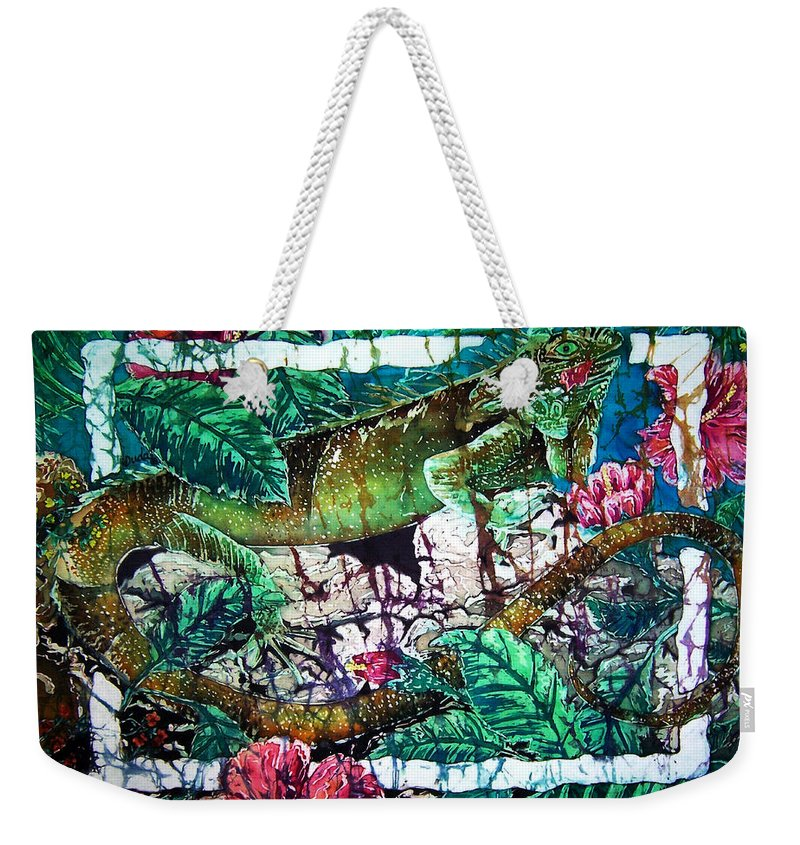 Iguana Weekender Tote Bag featuring the painting Dining At The Hibiscus Cafe - Iguana by Sue Duda