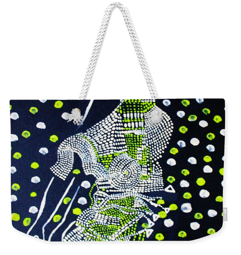 Jesus Weekender Tote Bag featuring the painting Dinka Maiden Dancing - South Sudan by Gloria Ssali