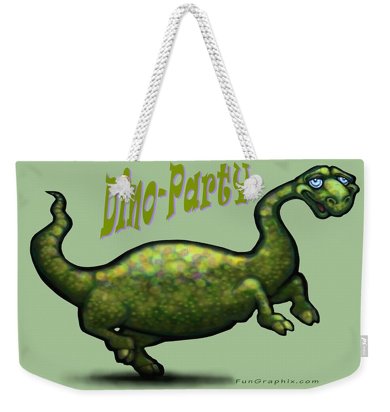 Dinosaur Weekender Tote Bag featuring the greeting card Dino Party by Kevin Middleton