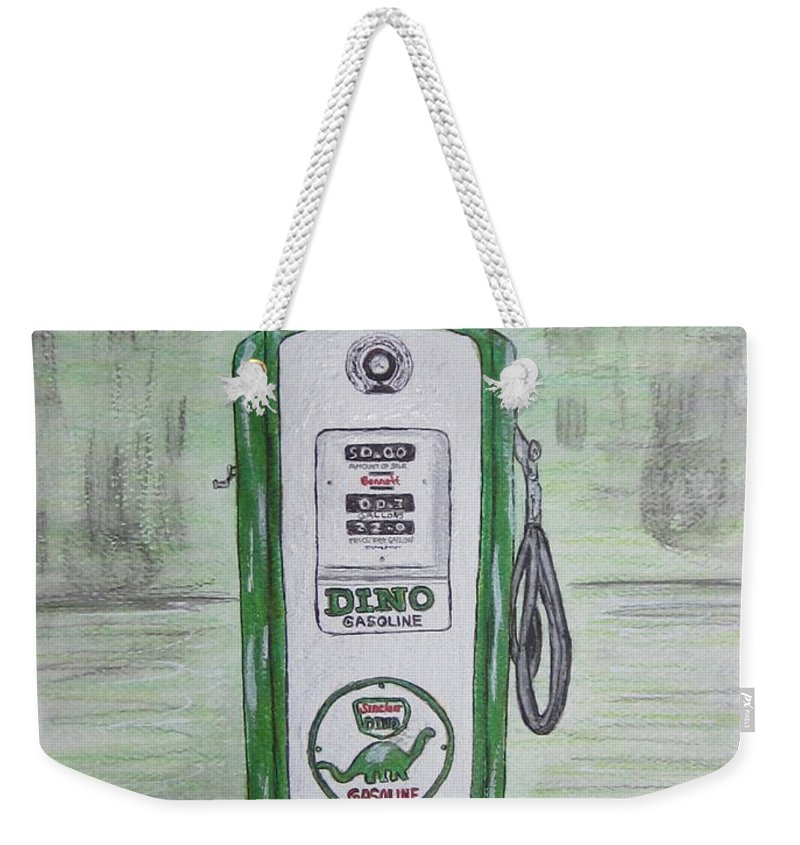 Dino Weekender Tote Bag featuring the painting Dino Sinclair Gas Pump by Kathy Marrs Chandler