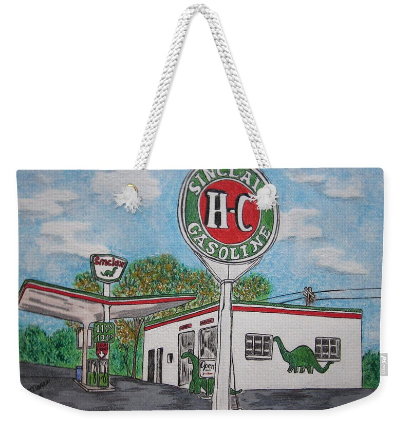 Dino Weekender Tote Bag featuring the painting Dino Sinclair Gas Station by Kathy Marrs Chandler