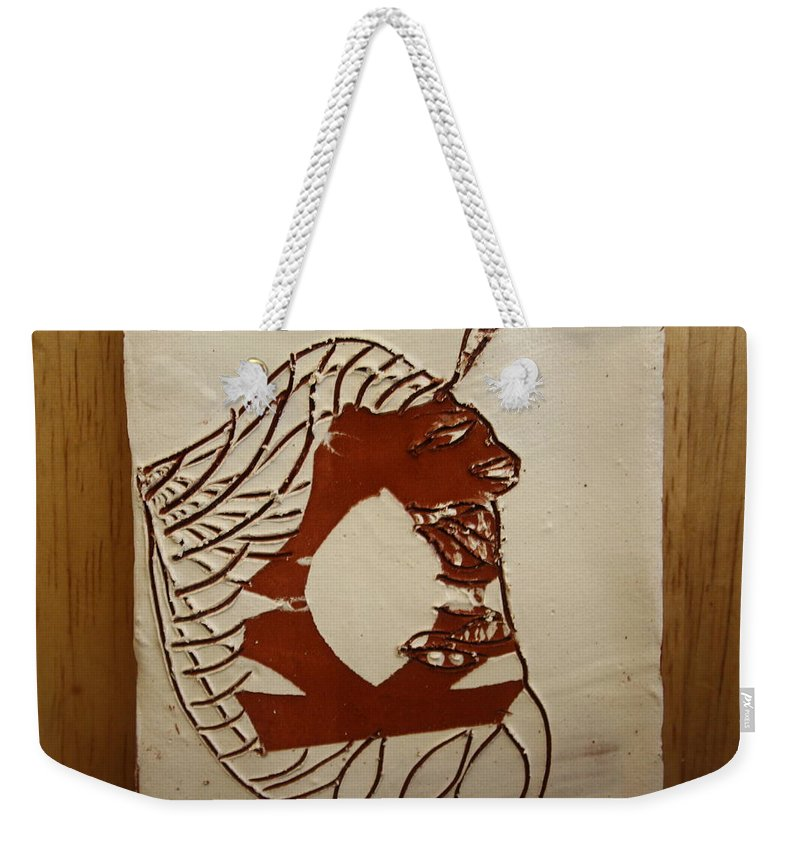 Jesus Weekender Tote Bag featuring the ceramic art Dionte - Tile by Gloria Ssali