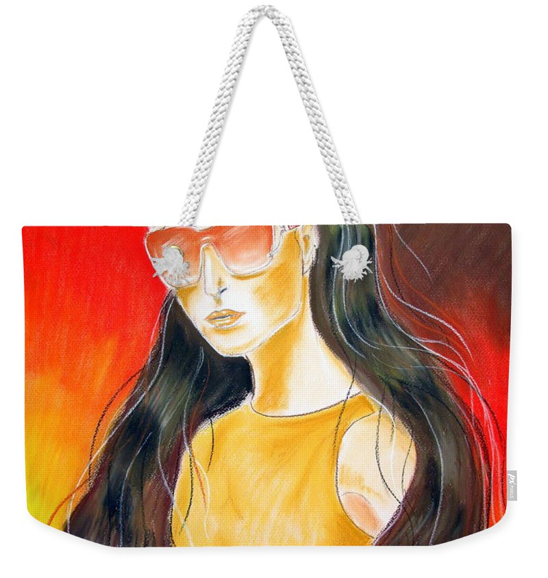 Sunglasses Weekender Tote Bag featuring the pastel Dior..1 by Jo Hoden