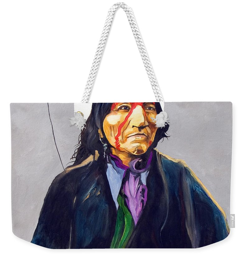 Shaman Weekender Tote Bag featuring the painting Direct Connect by J W Baker