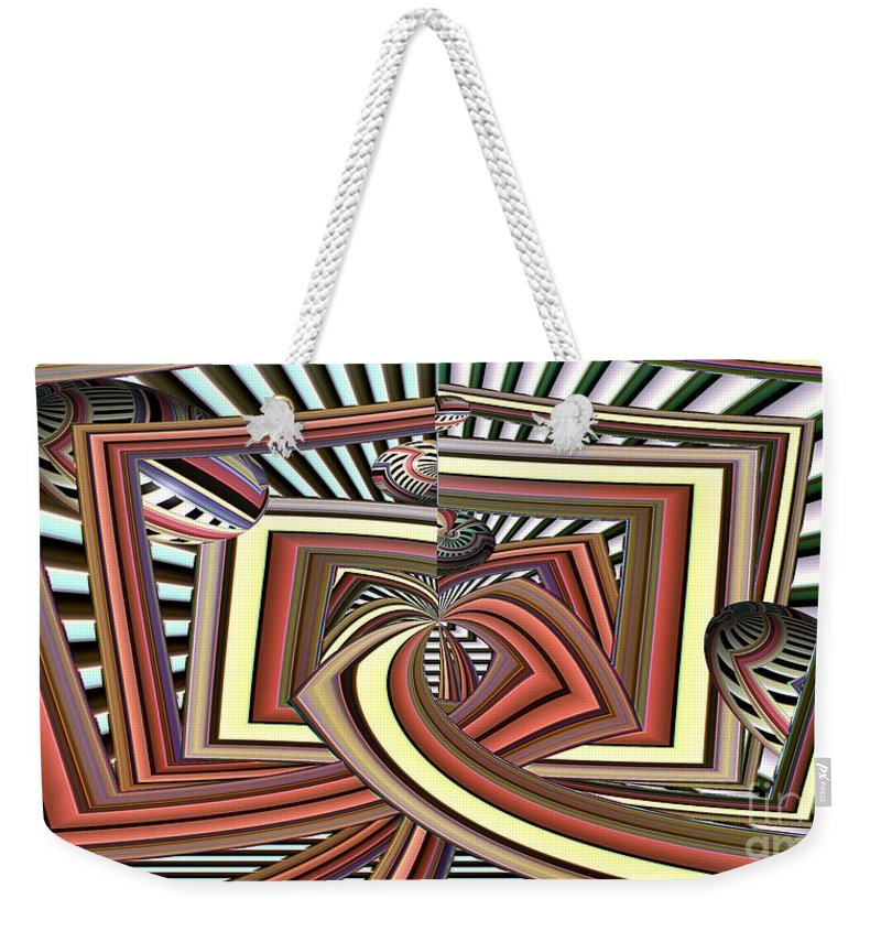 Abstract Weekender Tote Bag featuring the digital art Dirigibles In Time by Ron Bissett