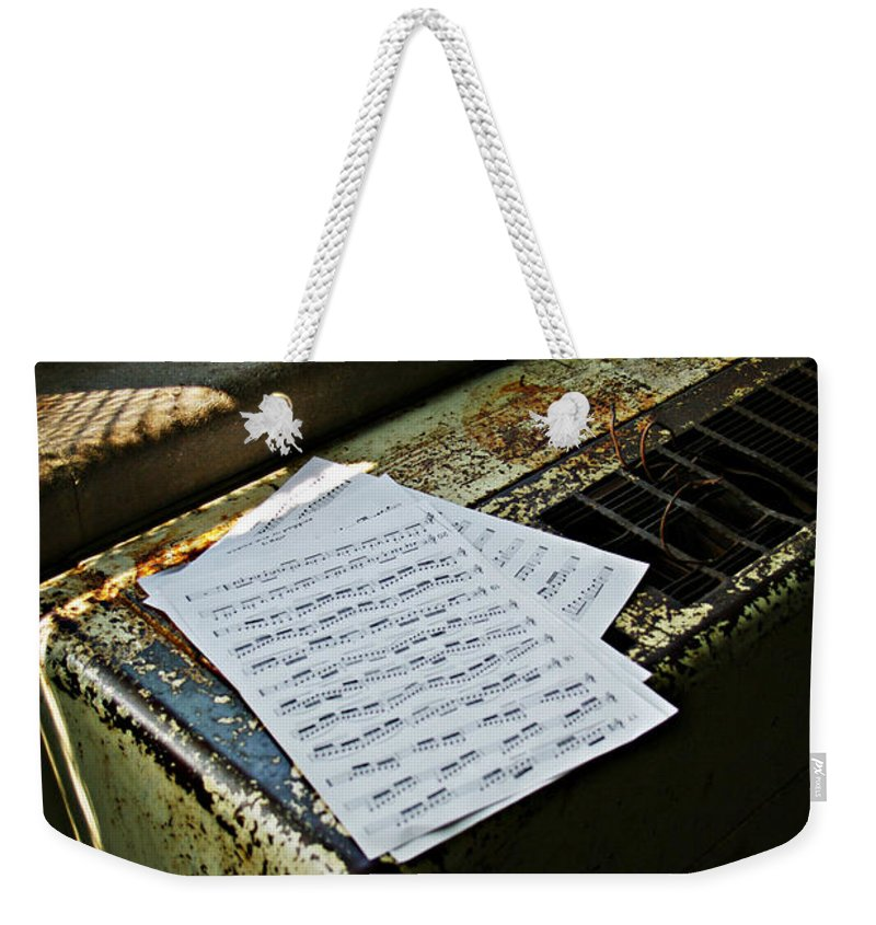 Music Weekender Tote Bag featuring the photograph Discarded Notes by Scott Wyatt