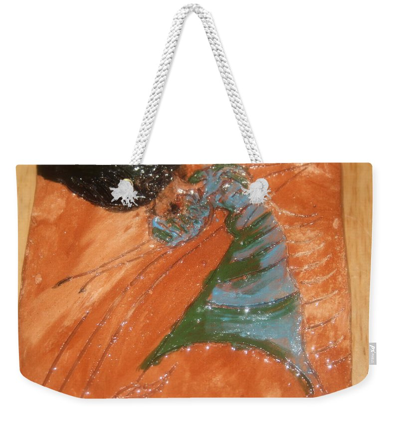 Jesus Weekender Tote Bag featuring the ceramic art Disco - Tile by Gloria Ssali