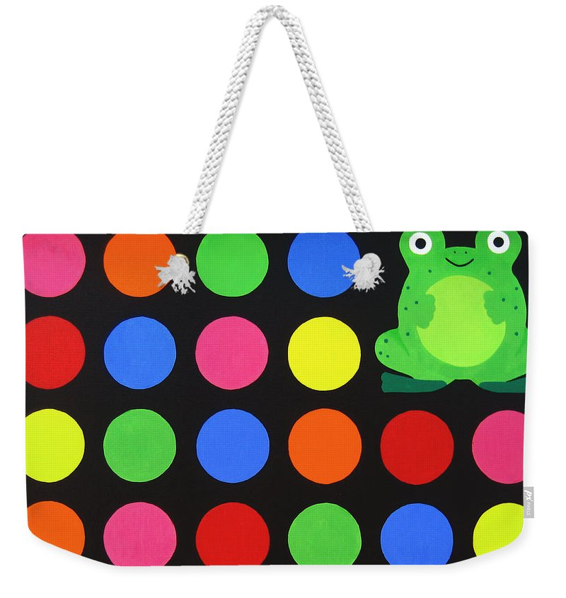 Red Weekender Tote Bag featuring the painting Discofrog by Oliver Johnston