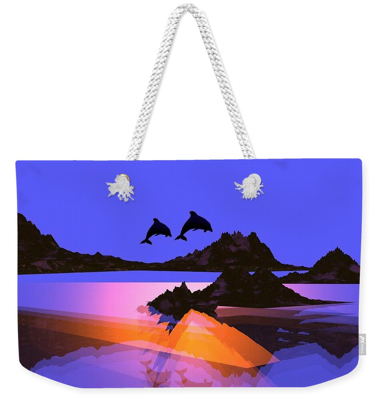 Dolphin Weekender Tote Bag featuring the digital art Discovery by Robert Orinski