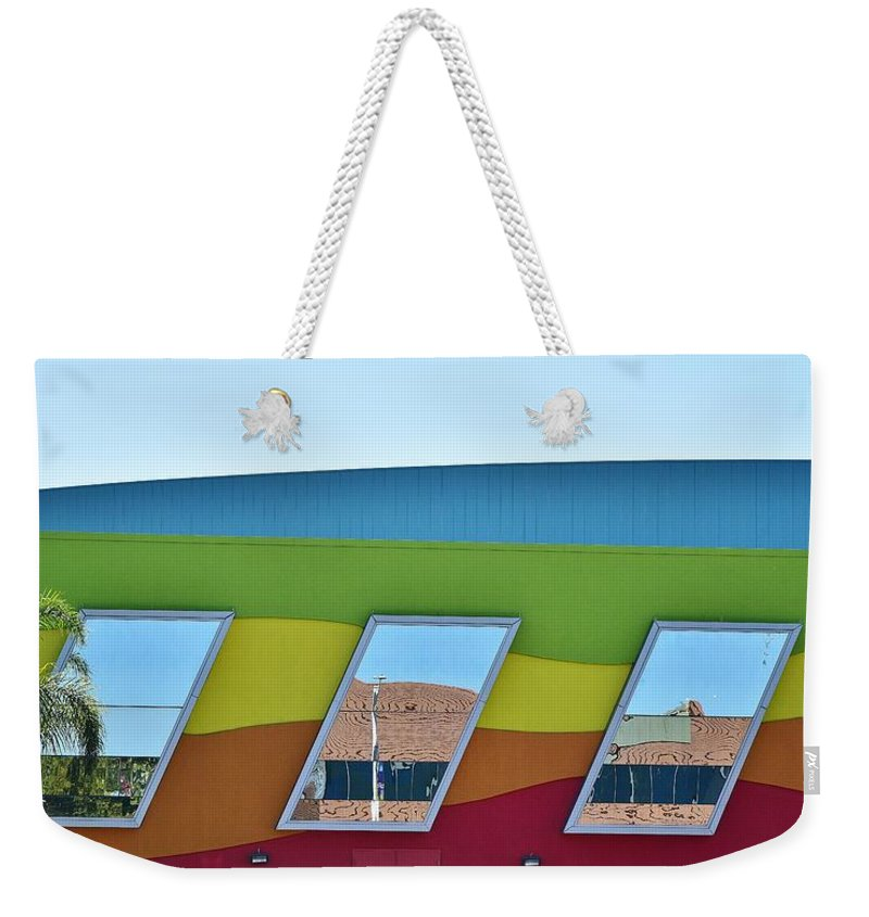 Linda Brody Weekender Tote Bag featuring the photograph Discovery Science Center Window Reflection by Linda Brody