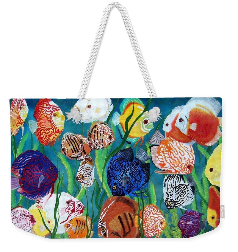 Fish Weekender Tote Bag featuring the painting Discus Fantasy by Debbie LaFrance
