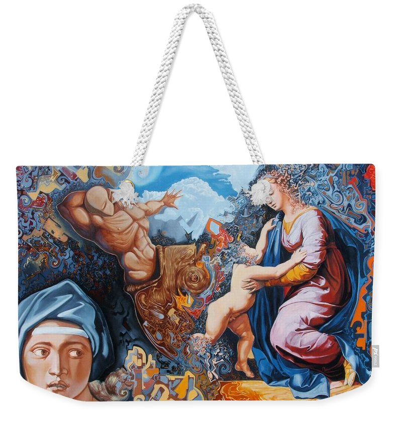 Surrealism Weekender Tote Bag featuring the painting Disintegration Of The Old Ancient World by Darwin Leon