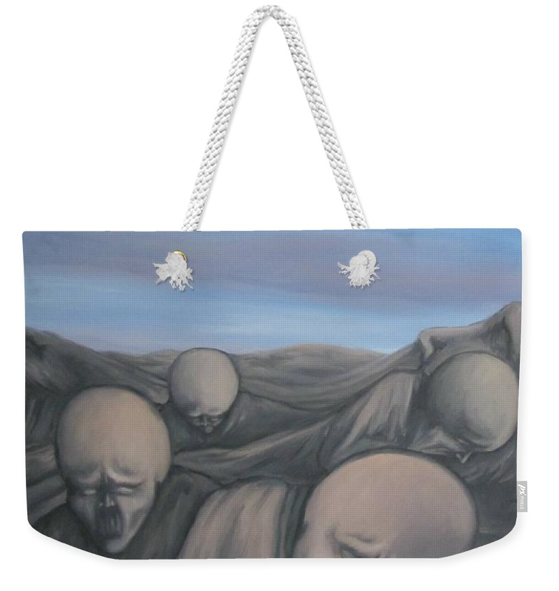 Tmad Weekender Tote Bag featuring the painting Dismay by Michael TMAD Finney