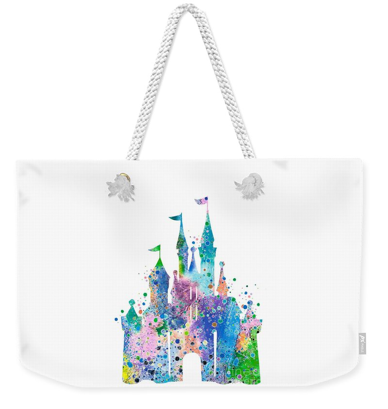 Disney Castle Weekender Tote Bag featuring the digital art Disney Castle 2 Watercolor Print by Svetla Tancheva