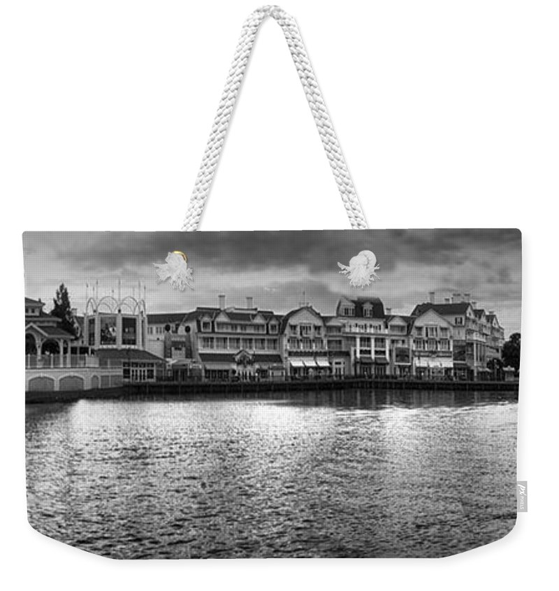 Boardwalk Weekender Tote Bag featuring the photograph Disney World Boardwalk Gazebo Panorama Bw by Thomas Woolworth