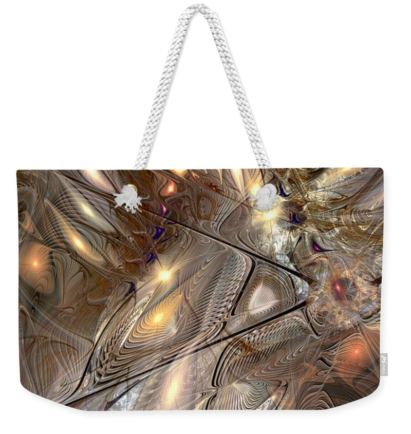 Abstract Weekender Tote Bag featuring the digital art Disorderly Relativistic Interpretations by Casey Kotas