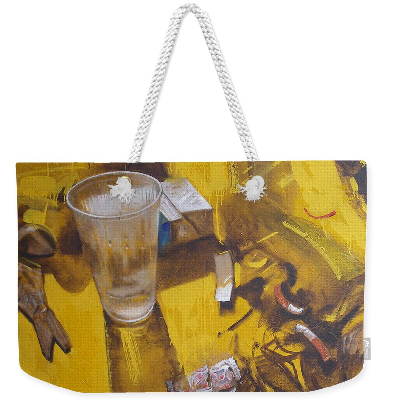 Disposable Weekender Tote Bag featuring the painting Disposable by Sergey Ignatenko