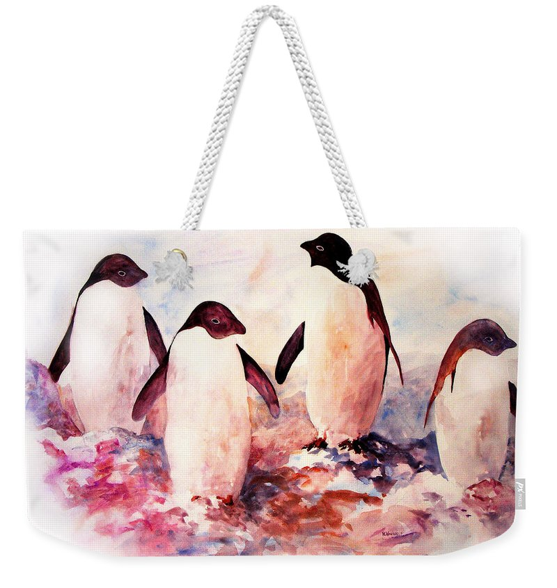 Penguins Weekender Tote Bag featuring the painting Dissident by Rachel Christine Nowicki