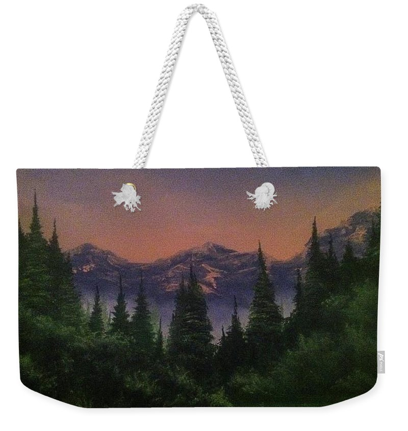Mountain/ Landscape Weekender Tote Bag featuring the painting Distant Glow by Glen Mcclements